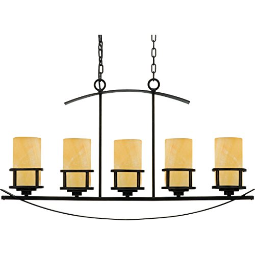 "Quoizel KY540IB Kyle Faux Alabaster Island Chandelier, 5-Light, 500 Watts, Imperial Bronze (23"" H x 40"" W)"