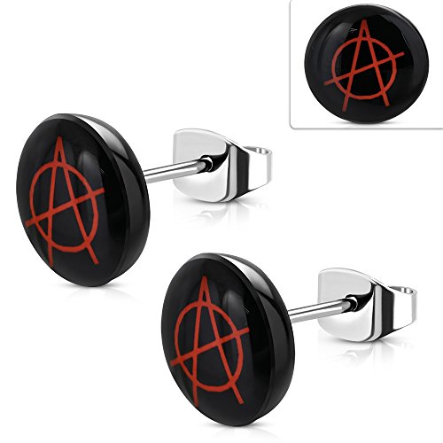 - 10mm | Stainless Steel w/ Acrylic 3-tone Anarchy Symbol Circle Stud Earrings (pair) - TTE448