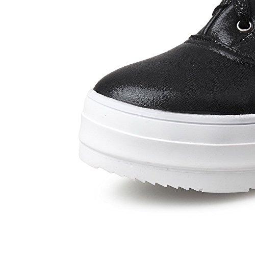 VogueZone009 Women's Lace-up Round Closed Toe Low-Heels PU Solid Pumps-Shoes Black NbxJjhZ6sK