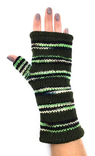 Hand Knit Fingerless Gloves - Soft Fleece Lining -Handwarmer for Typing Driving - Striped - Nepal ()