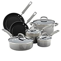 Rachael Ray 19009 Porcelain II Cookware Set, Large, Sea Salt Gray
