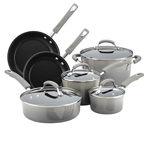 Rachael Ray 19009 Porcelain II Cookware Set, 10 Piece, Sea Salt Gray