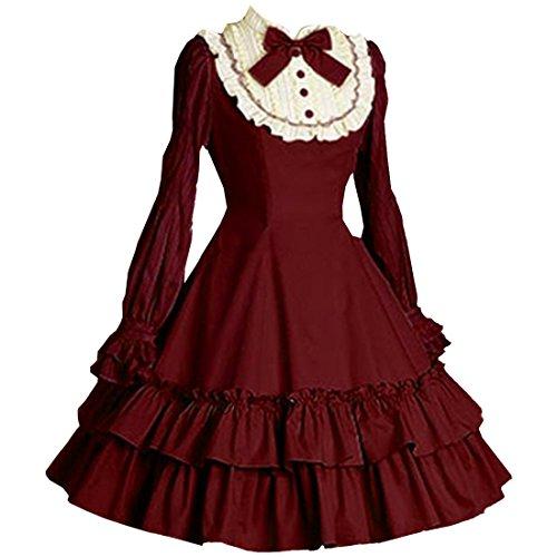 Partiss Women's Long Sleeves Bowknot Multi Layers Classic Sweet Lolita Dress, S, Burgundy (Dress Lolita)