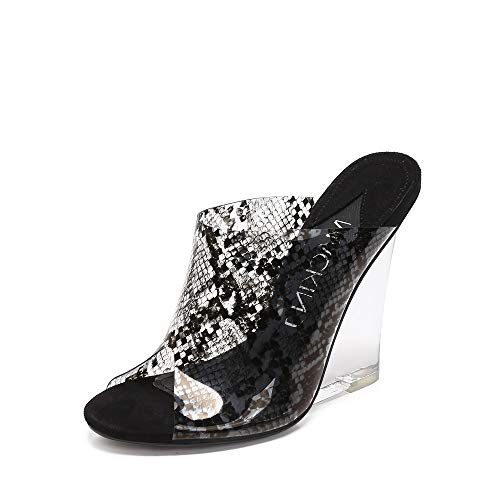 MACKIN J 405-8 Women's TPU Lucite Clear Wedge Heel Open Toe Platform Sandal Slip On Mule Dress Shoe with Snake Painting Color (7.5, Black)