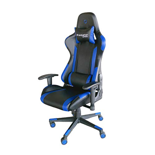 PRIXTON Predator Gaming Chair 10B - Silla Gaming/Silla Gamer con Altura y Reposabrazos Ajustables, Reclinable 180º, Fabricado en Metal y Espuma de Alta consistencia, Cojin Cervical Incluido, Azul