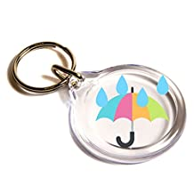 Umbrella With Rain Drops Emoji Key Ring