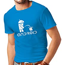 lepni.me T Shirts For Men The Funny Robot and The Apple - Geek Humorous Gifts