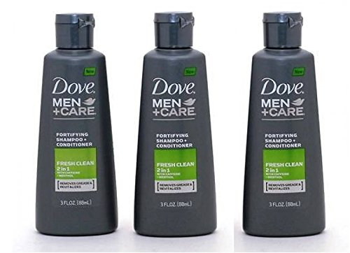 Dove Men+Care 2 in 1 Shampoo + Conditioner Fresh Clean 3 Oz Travel Size(Pack of 3)