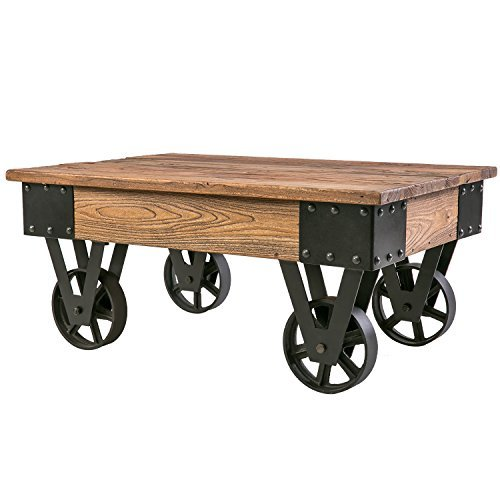 Harper&Bright Designs Solid Wood Coffee Table with Metal wheels, End Table/Living Room Set/Rustic Brown