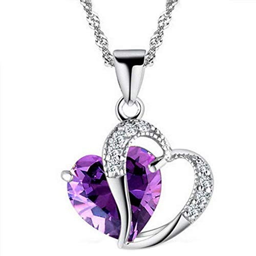 WUAI Forever Love Women Pendant Necklace, Heart Crystal Rhinestone Silver Chain Pendant Necklace Jewelry