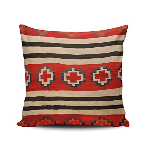 MUKPU Fashion Home Decoration Design Throw Pillow Case Red Navajo Design 22X22 Inch Square Custom Pillowcase Cushion Cover Double Sided Printed (Set of 1)