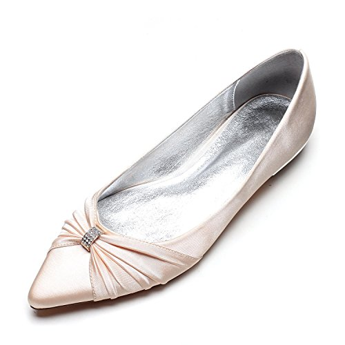 L@YC Women's Wedding Shoes Satin Jane Low Heels Large Size Closed Toe/Court Shoes/Party Champagne y8gUWjs