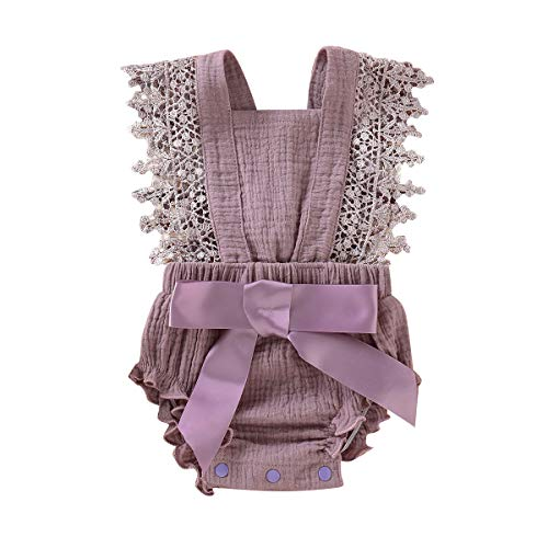 Newborn Summer Outfits Baby Ruffle Romper Lace Sleeveless Bodysuits Bowknot Jumpsuit Sunsuits (Purple, 0-3 -