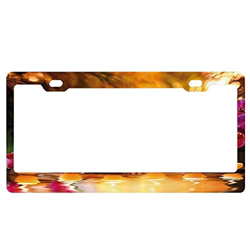 ASUIframeNJK Asian Classic Spa Joy in The Garden with Romantic Candles and Orchids License Plate Novelty Auto Car Tag Vanity Gift Car Tags