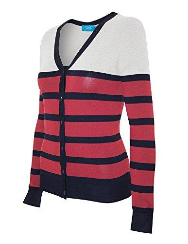Stripe V-neck Cardigan - Cielo Women's Soft Stretch Striped V-neck Button Down Sweater Cardigan Coral L