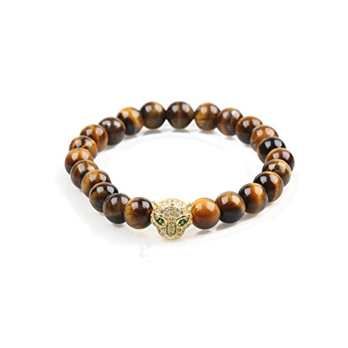 Stone Exotic - Big Cat Rescue Genuine Tiger Eye Stone Beads Stretchy Elastic Bracelet with Jeweled Leopard Head Charm, 8mm, Unisex, for Friendship, Couples, Teens