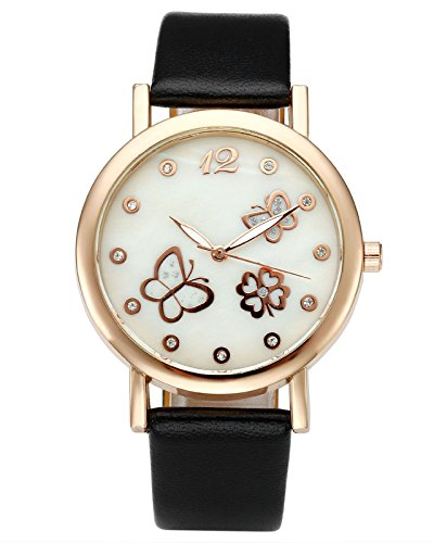 Top Plaza Butterfly Rhinestone Watch Black