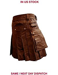 Mens Real Black Brown Leather Gladiator Pleated Utility Kilt LARP