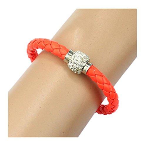 band Magnetic Rhinestone Buckle Leather Wrap Bracelet Bangle (Orange) (Rhinestone Buckle Bracelet)