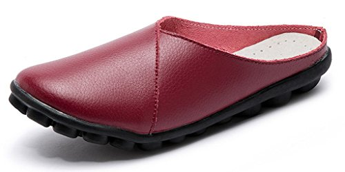 Leather Clogs Shoes Labato Women's Mules Slipper Wallking Slip Wine on Red Flats FpaqF