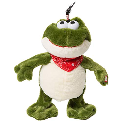 iBonny Plush Stuffed Animal Frog Musical and Croak Cute Plush Electronic Toys Interactive Action Frog for Children Green 11inch ()