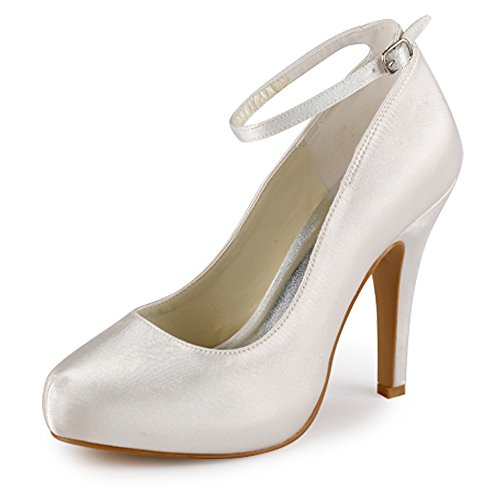 ElegantPark EP11049-IP Women Pumps Closed Toe High Heel Platform Ankle Straps Evening Wedding Shoes Ivory US 6