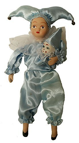 Porcelain Dolls 9 Inches, Blue Jester