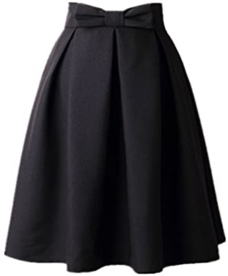 Women's A Line Pleated Vintage Skirt High Waist Midi Skater with Bow Tie