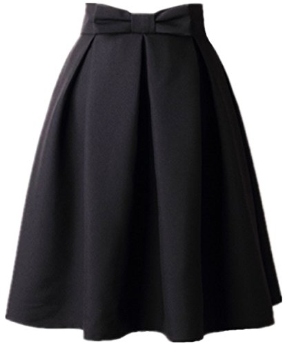 Women's A Line Pleated Vintage Skirt High Waist Midi Skater with Bow Tie(L, Black)