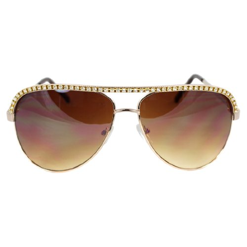 MLC EYEWEAR ® Pilot Fashion Aviator Sunglasses Gold Frame Rhinestone Amber - Sunglasses Aviator Diamond