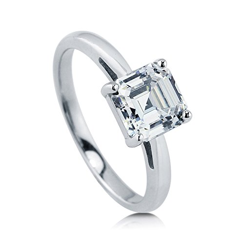 BERRICLE Rhodium Plated Sterling Silver Cubic Zirconia CZ Solitaire Engagement Ring Size (Asscher Cut Cz)