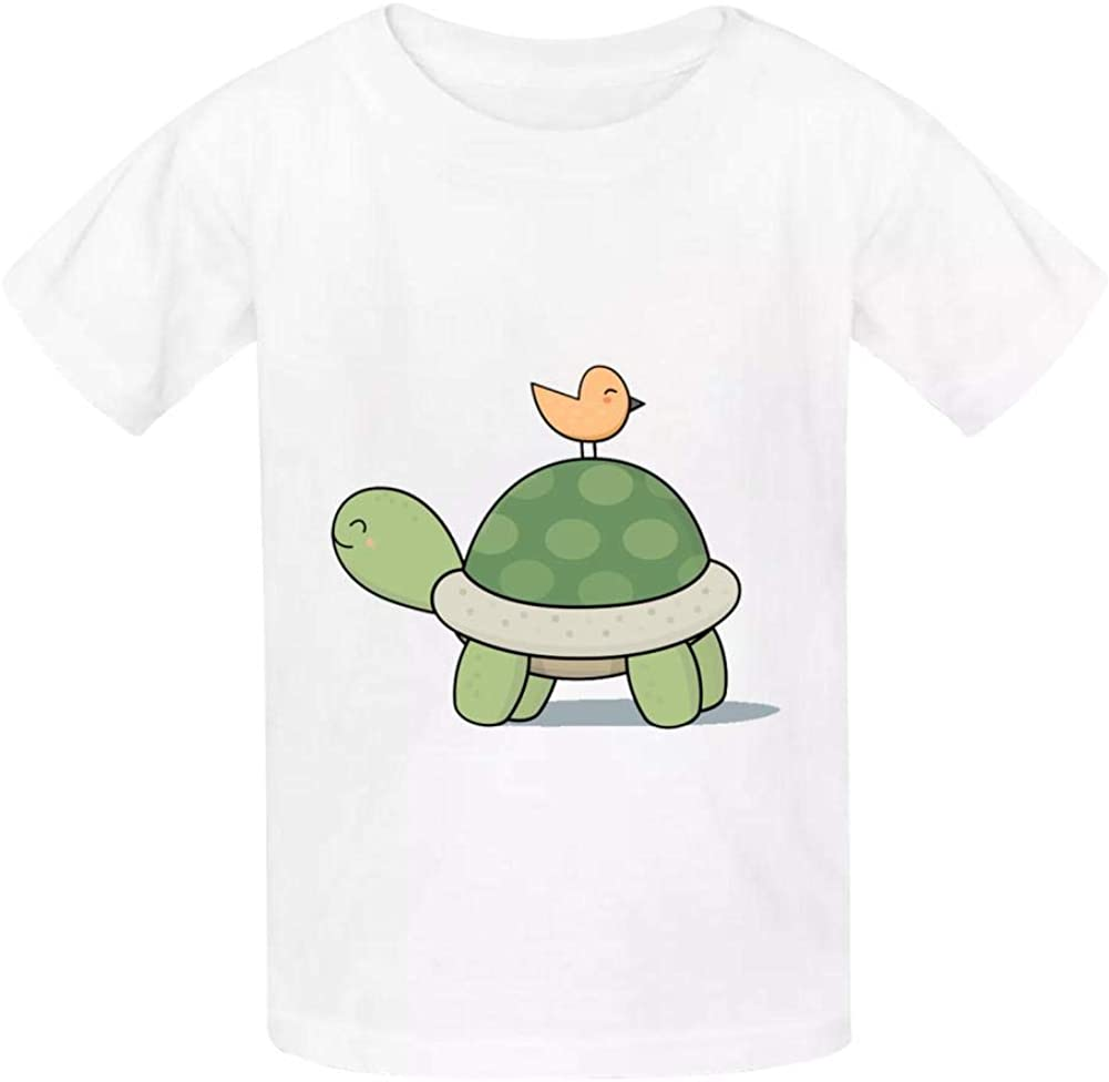 Kawaii Cute Tortoise and Bird Childrens Comfortable and Lovely T Shirt Suitable for Both Boys and Girls