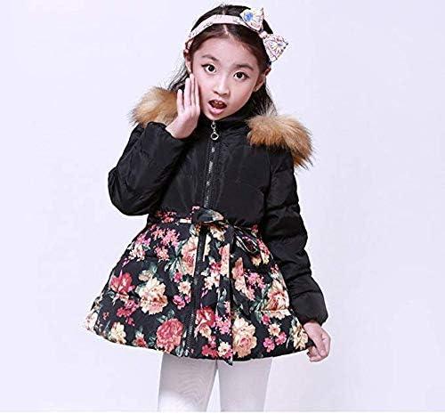 SS&CC Girls' Long Flower Printing Bowknot Winter Hooded Down Jacket