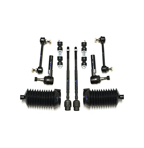 PartsW 10 Pc Front & Rear Suspension Kit for Buick Allure Century LaCrosse Regal Chevrolet Impala Monte Carlo Oldsmobile Intrigue Pontiac Grand Prix Tie Rod Ends, Sway Bars & Bellow Boots