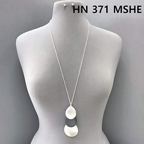 Silver Hematite Finish Triple Teardrop Shapes Drop Pendant Necklace Earrings Set