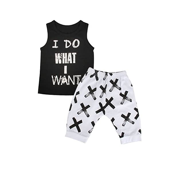 Kerrian Online Fashions 41ZJn0bxGnL 1-5Yrs Kids Boys Cool Sleeveless Vest Top + Shorts Summer Clothes Outfit Set