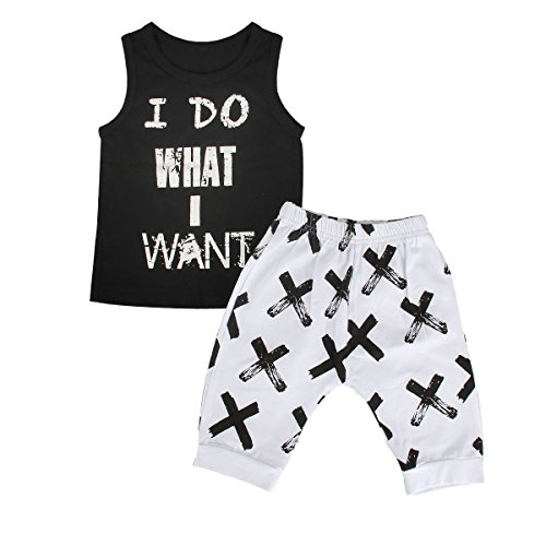 2pcs Toddler Kids Baby Boy Cool Sleeveless T-shirt Vest+Pants Clothes Outfit Set (4T-5T)]()