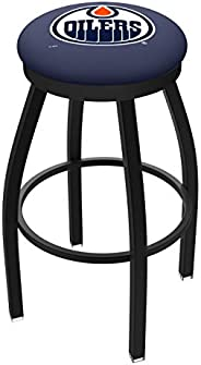 Edmonton Oilers HBS Black Swivel Bar Stool with Blue Cushion