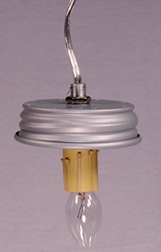 Mason Jar Electric DIY Pendant Hanging Lamp Conversion Kit, Pre-Wired and Ready To Use, Silver, Fits Regular Mouth Jars