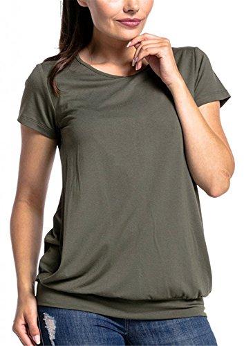 Corta Sunvool shirt Puro Donna Strati Doppi Comoda L'allattamento Maglietta Manica T Semplice Top Green Premaman Classico Femminili Bluse Colore Cotone g8wrqngC