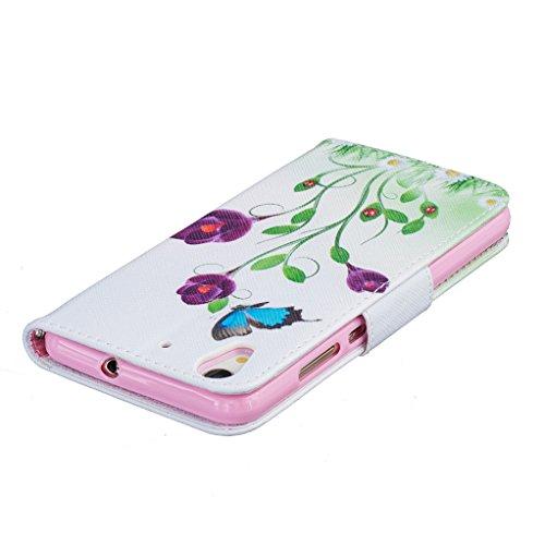 Trumpshop Smartphone Carcasa Funda Protección para Huawei Y6 II + Dont Touch My Phone (oso del bebé) + PU Cuero Caja Protector Billetera con Cierre magnético [No compatible con Y6 y Y6 II Compact] Las mariposas azules