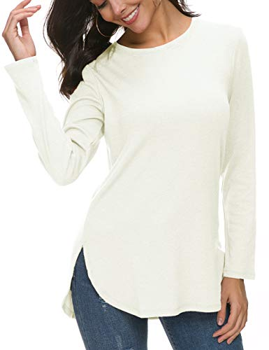 (Herou Women's Fall Round Neck Long Sleeve Pullover Tunic Tops with Side Split (White, Medium))