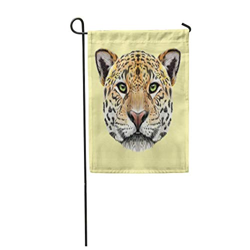 Semtomn Garden Flag 28x40 Inches Print On Two Side Polyester Portrait of Jaguar Cute Fluffy Face Big Cat Green Eyes Home Yard Farm Fade Resistant Outdoor House Decor Flag -