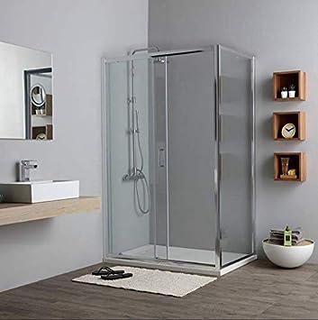 mampara de ducha Rectangular 80 x 130 cm lado Fijo y Puerta ...