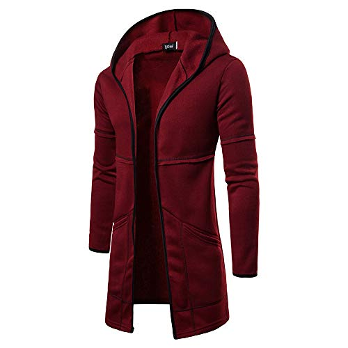 Price comparison product image Binmer Fashion Mens Hooded Solid Trench Coat Jacket Cardigan Long Sleeve Outwear Blouse (M, Wine Red)