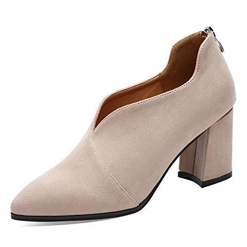 Zapatos Beige Alto Tacones Otoño Mujer Áspero Tacón Con Casuales Yukun De Individuales Moda Altos pxOwpd