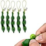 Fidget Toys, SnowCinda 5 PCS Squeeze-a-Bean Soybean Stress Relieving Keychain Mobile Chain Fidget, Green