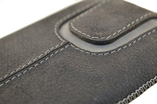 OrLine Etui Case Lederetui für Apple Iphone SE Echt Leder Case Ledertasche Tasche Lederetui mit Magnetverschluss in der Farbe anthrazit/grau Handarbeit