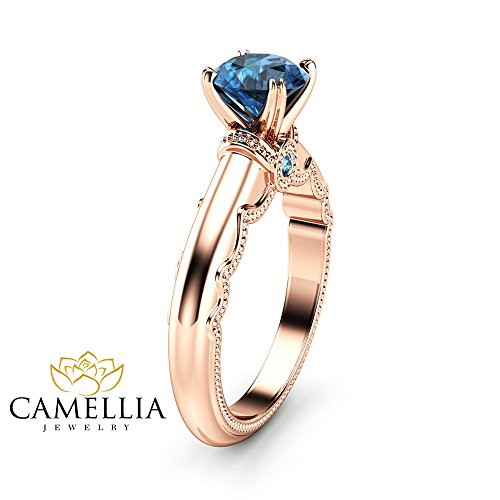 - Blue Diamond Estate Engagement Ring 14K Rose Gold Estate Ring Unique Anniversary Gift