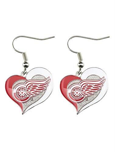 aminco Detroit Red Wings Swirl Heart Earring NHL Dangle Logo Charm Gift